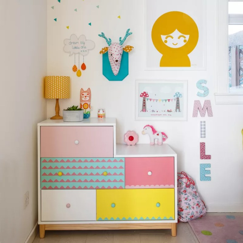 Chest of drawers in kids room upcycled with wallpaper on drawers