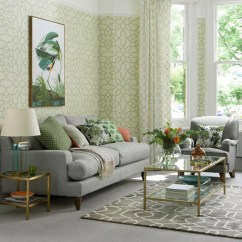 Living Room Inspiration Grey Sofa And Blue Green Ideas For Soothing Sophisticated Spaces With Fretwork Wallpaper
