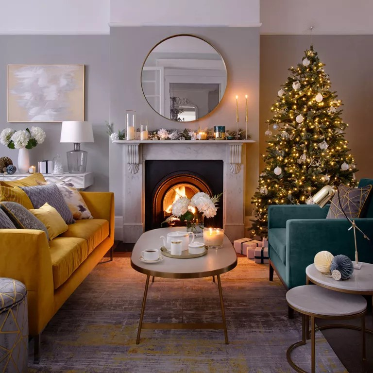 christmas decoration ideas for small living room gray and yellow decorating