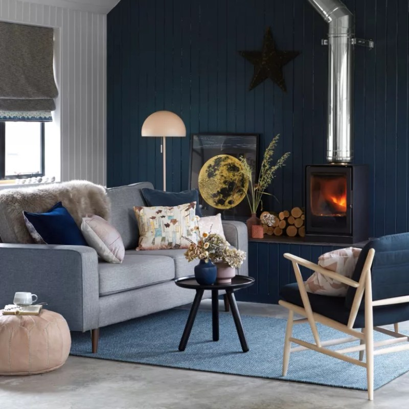Modern living room with midnight blue colour scheme