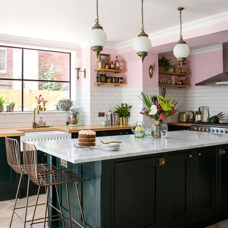 Basement Kitchen Makeover With Emerald Green Units Marble