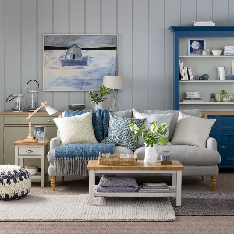 A part of hearst digital m. Navy Blue Grey And Blush Pink Living Room   www ...