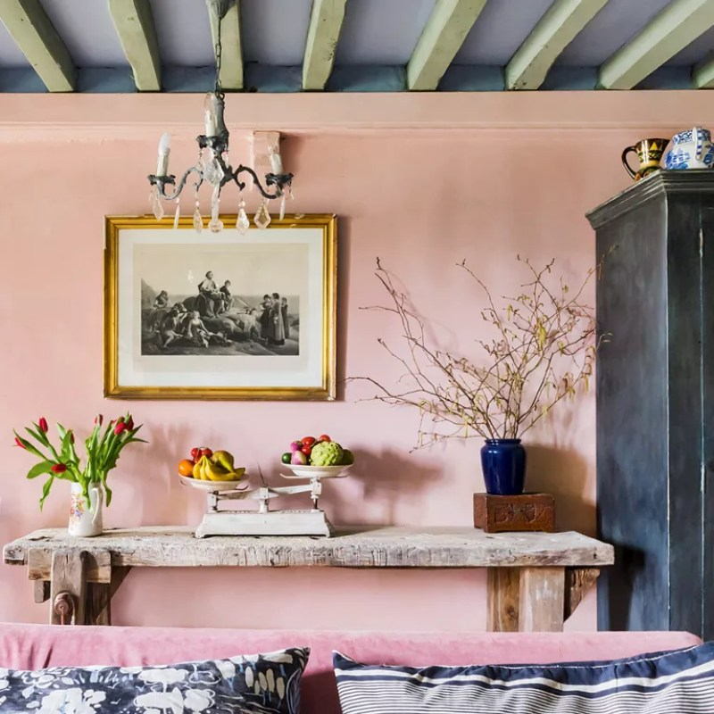 PINK LIVING ROOM WITH GREY PAINTED BEAMS ON CEILING