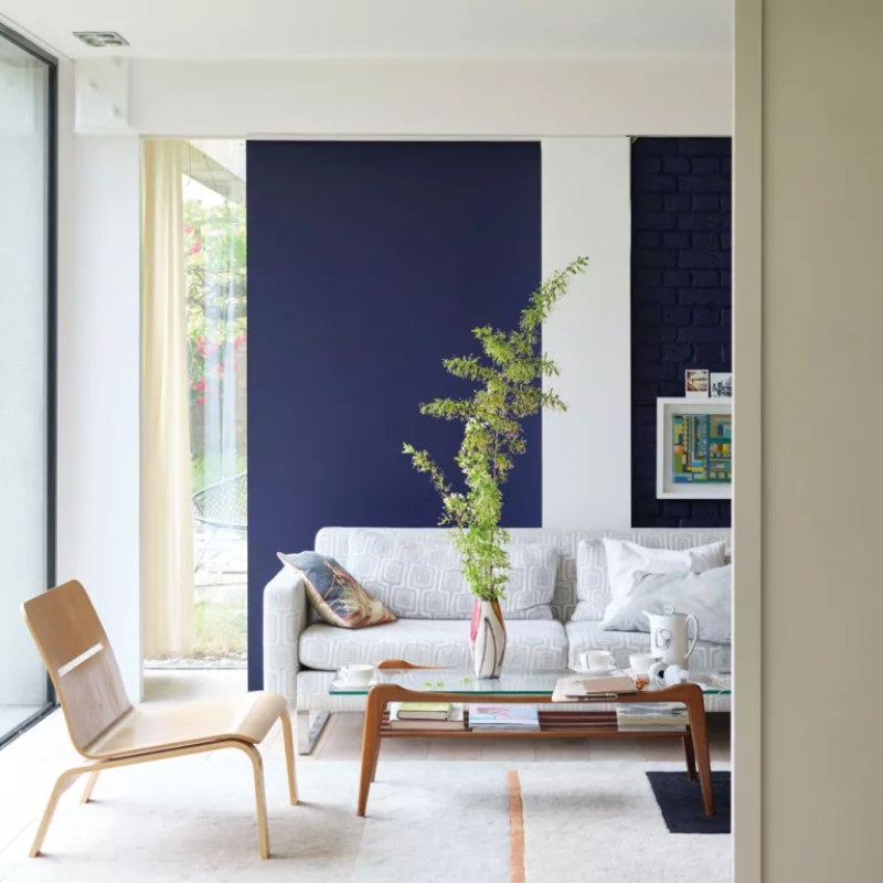 Living room with navy blue feature wall