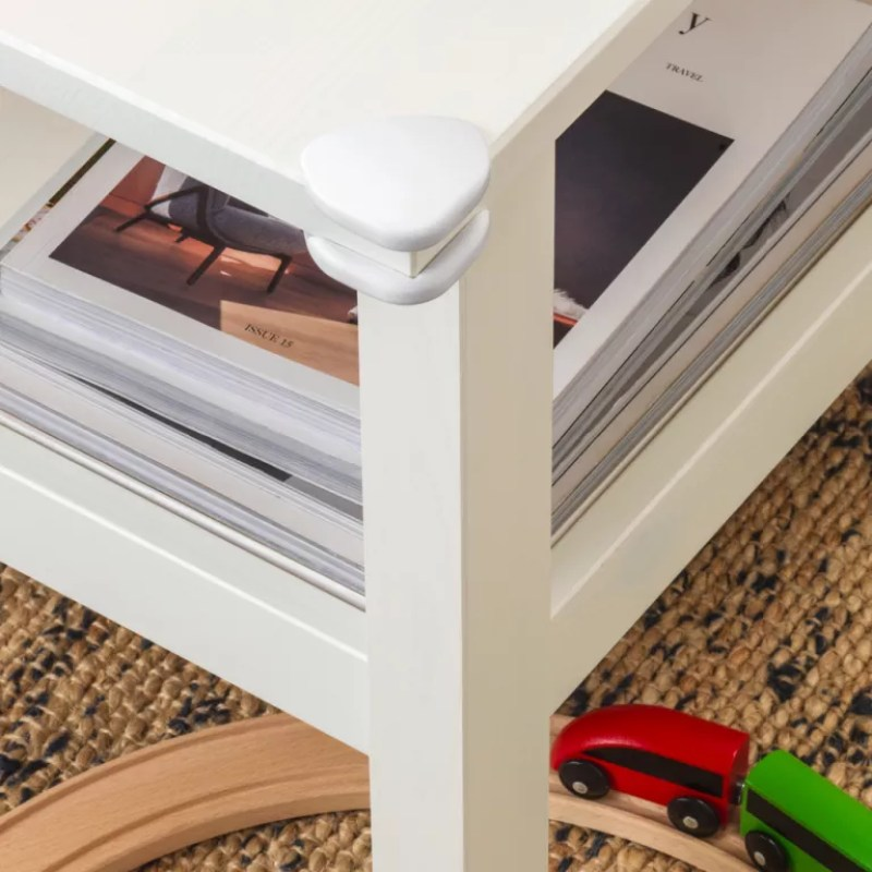 coffee table with corner guards for safety