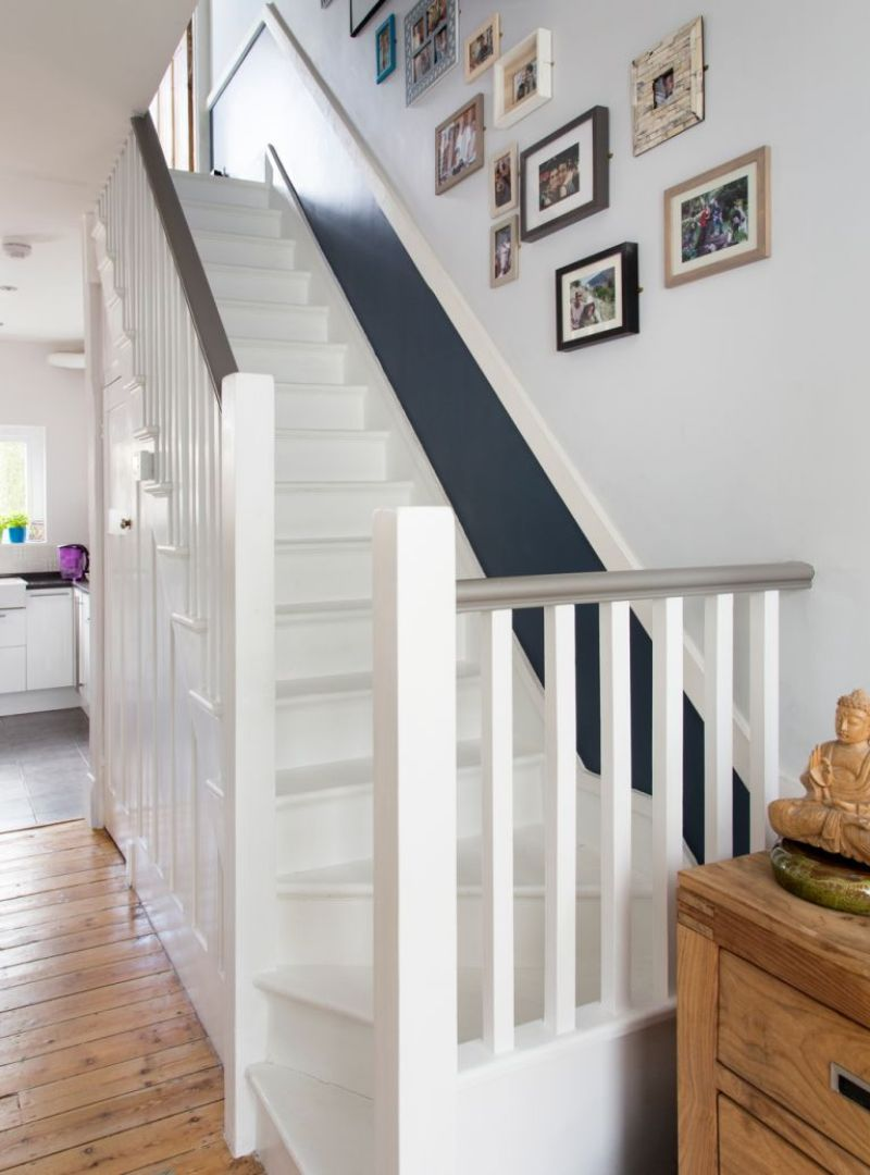 white staircase with blue painted border