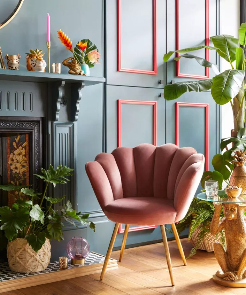 Glam deco chair in teal living room pink accents