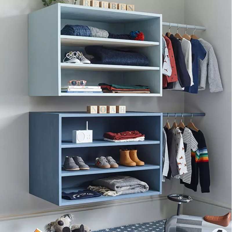 baby clothes storage with open wardrobe drawers