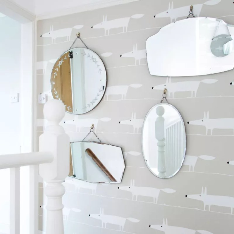 landing with grey fox print wallpaper and mirrors