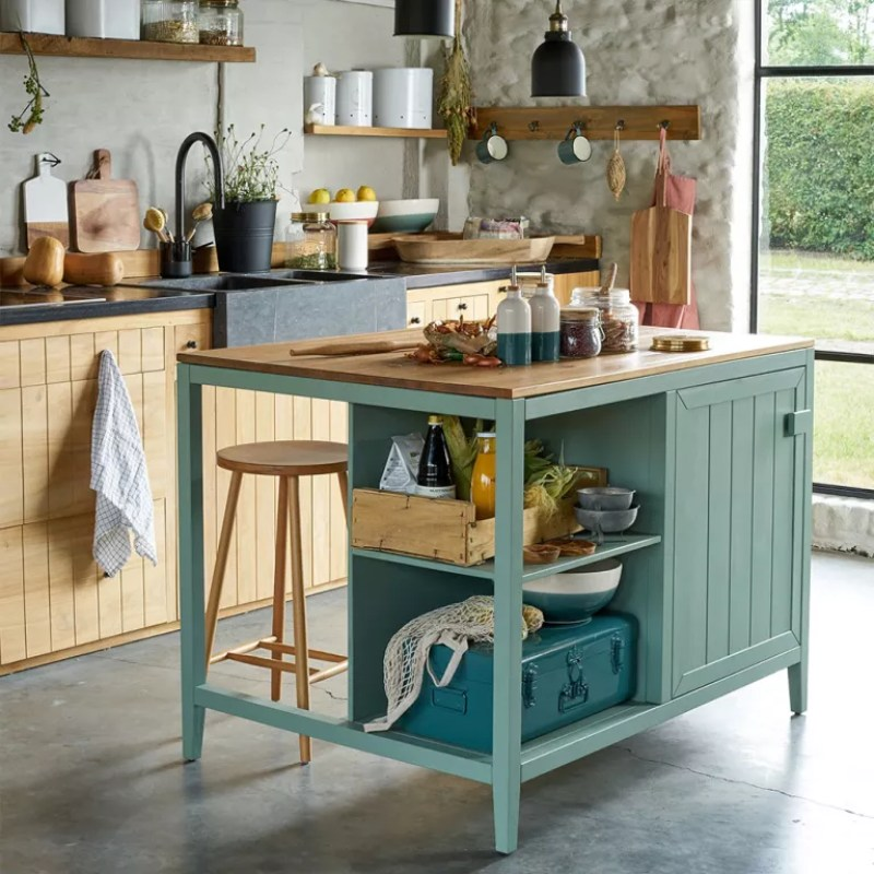 green portable kitchen island with seating and storage