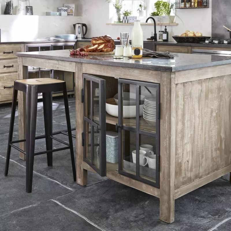 Portable kitchen island ideas with white walls and oak breakfast bar