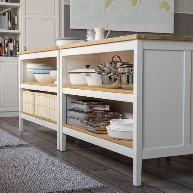 Portable kitchen island ideas with grey floor and white shelving units