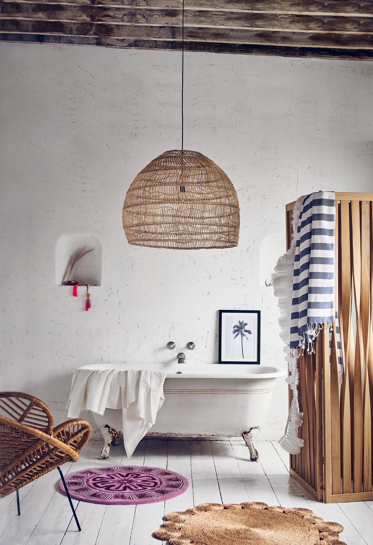 hanging chair notonthehighstreet patio swing interior design trend 2018 modern ibiza coachella festival boho vibes petal bamboo 1 187 chelsea textiles gwelsen oak screen 695 tom raffield wicker lamp 415 out there interiors