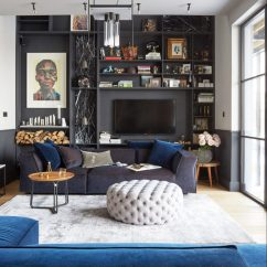 Living Rooms With Dark Grey Feature Walls Wall Shelves Design For Room Moody And Dramatic Ideas Paint Inspiration