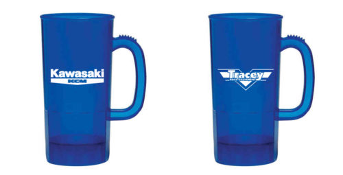 Tracey Road Equipment Blue Plastic Mugs Branded Promotional Merchandise by KSAVAGER Design & Photography in Syracuse, NY