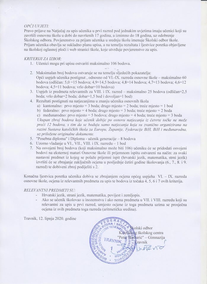 """Natječaj za upis redovitih učenika u prvi (I.) razred Katoličkog školskog centra """"Petar Barbarić"""" Gimnazija Travnik u školskoj 2020./2021. godini"""