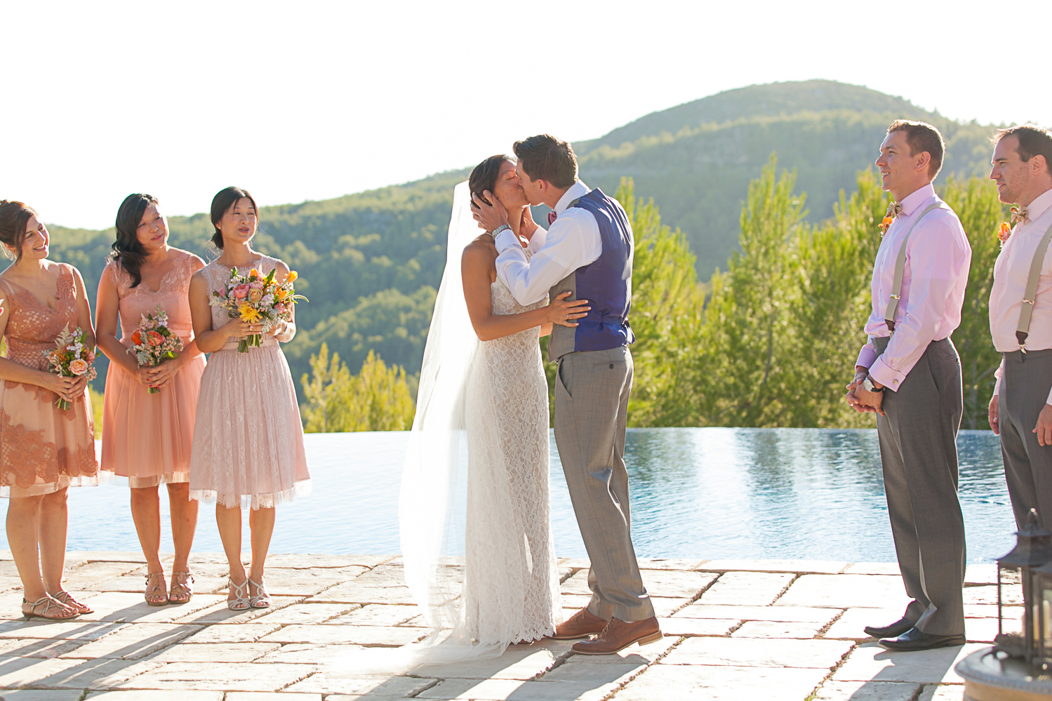 First Kiss at Villa Casanova, sitges Spain wedding