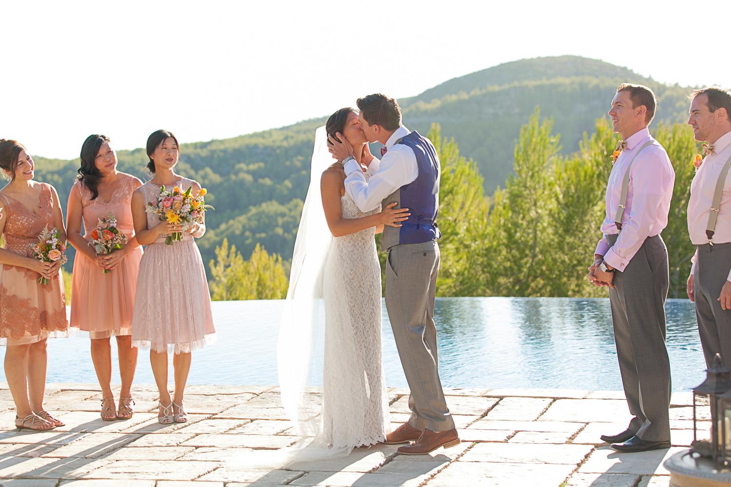 First Kiss at Villa Casanova, sitges Spain wedding