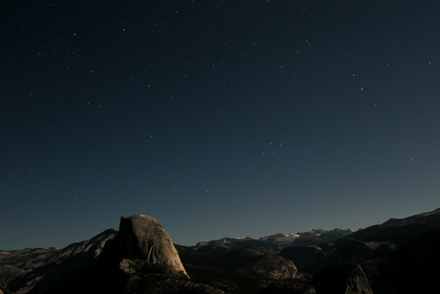 View of half dome at night. starry night