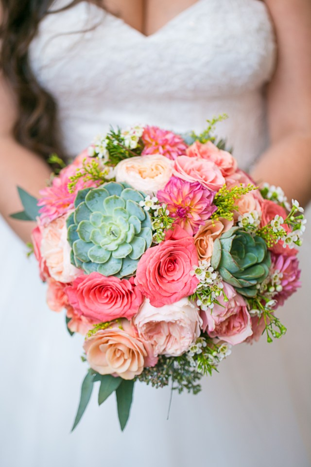 succulent bouquet. Green and Pink wedding bouquet