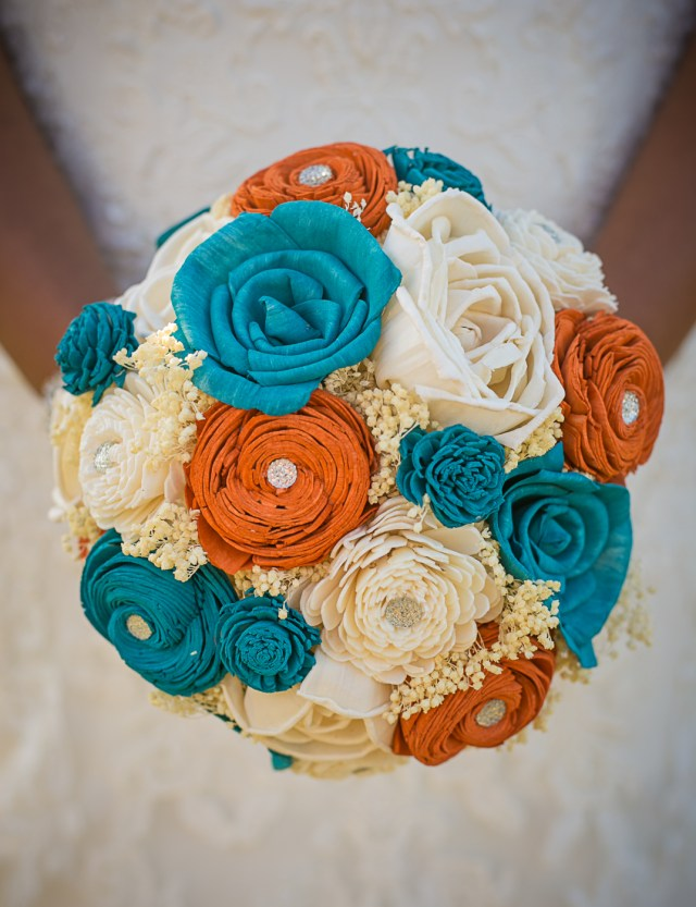 Paper flowers wedding bouquet. Teal and Orange bridal bouquet