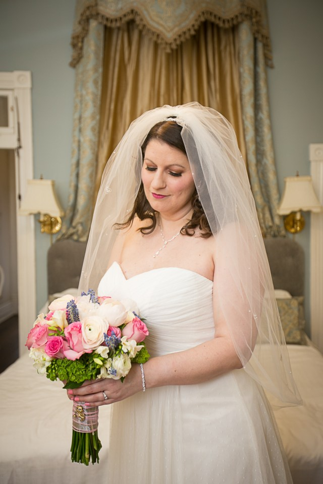 The bride in bridal suite at Carriage Lane Inn