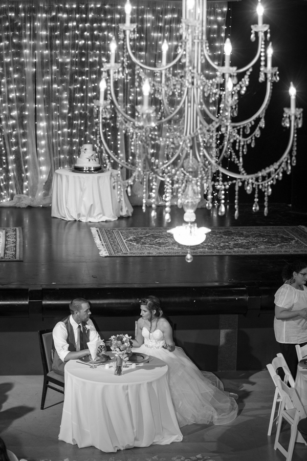sweetheart table photographed from above