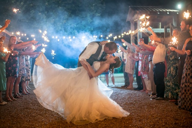 sparkler exit dip and kiss