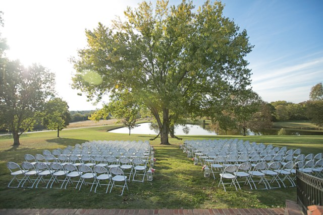 outdoor wedding ceremony at covey rise underneath tree