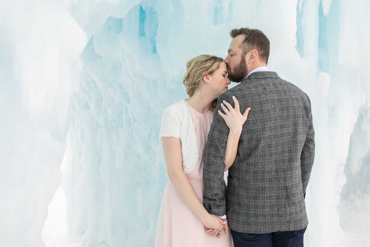 forehead kiss: Ice Castle engagement photos