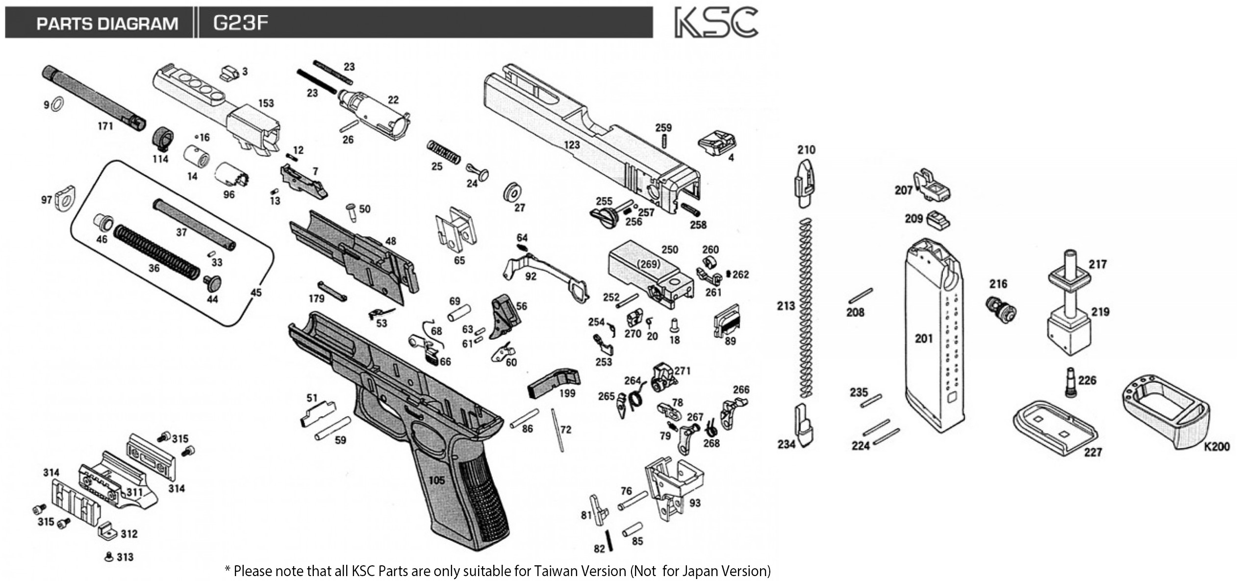 Exploded Diagram Ksc Glock 23f Ksc Part Original