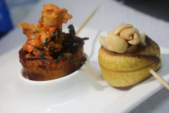 Rolled plantain with efo riro and Bolip