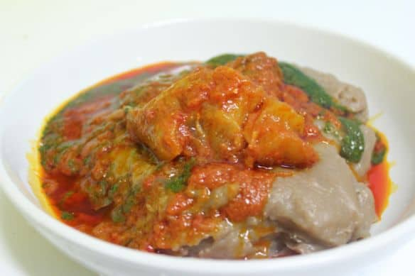 Amala with beef stew