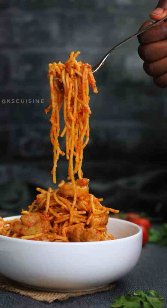 Jollof spaghetti also called spaghetti jollof. Easy spaghetti recipe cooked in tomato sauce. Nigerian spaghetti recipe
