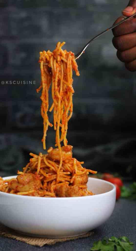 Jollof spaghetti also called spaghetti jollof. Easy spaghetti recipe cooked in tomato sauce. Nigerian spaghetti recipe