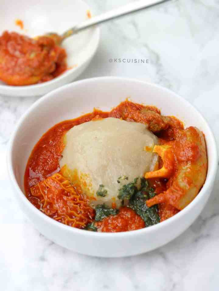 How to make lafun - white amala (Cassava flour fufu)
