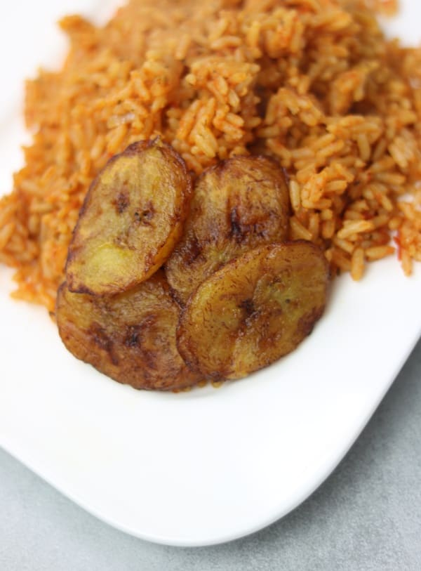 Jollof rice and fried plantain