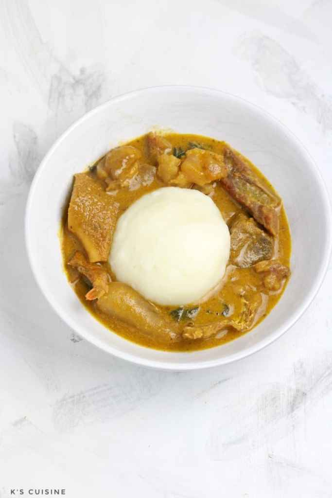 Ogbono soup served with poundo
