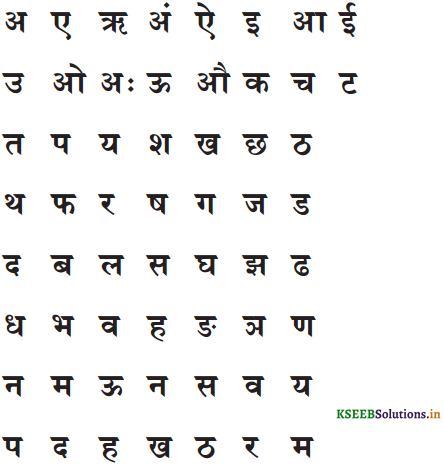 KSEEB Solutions for Class 6 Hindi वल्लरी Chapter 2 वर्णमाला 13