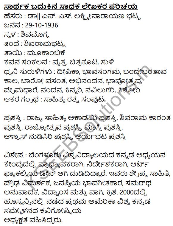 Sarthaka Badukina Sadhaka Summary in Kannada 1