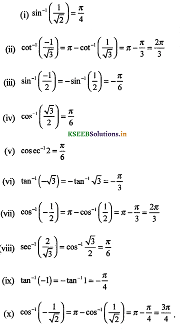 2nd PUC Maths Question Bank Chapter - 2 Inverse Trigonometric Functions - 1