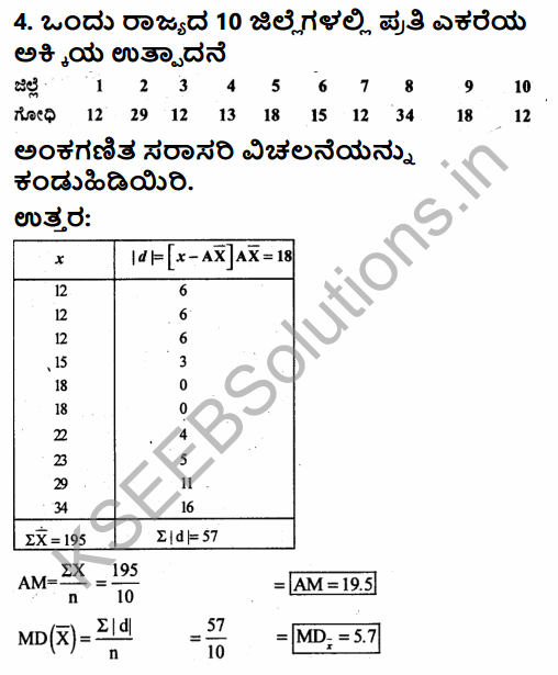 1st PUC Economics Question Bank Chapter 6 Measures of Dispersion in Kannada 31