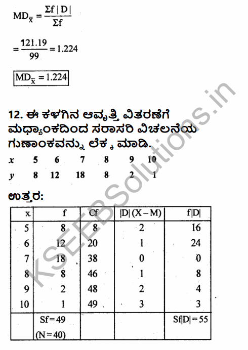1st PUC Economics Question Bank Chapter 6 Measures of Dispersion in Kannada 40