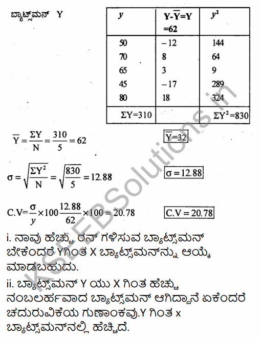1st PUC Economics Question Bank Chapter 6 Measures of Dispersion in Kannada 47