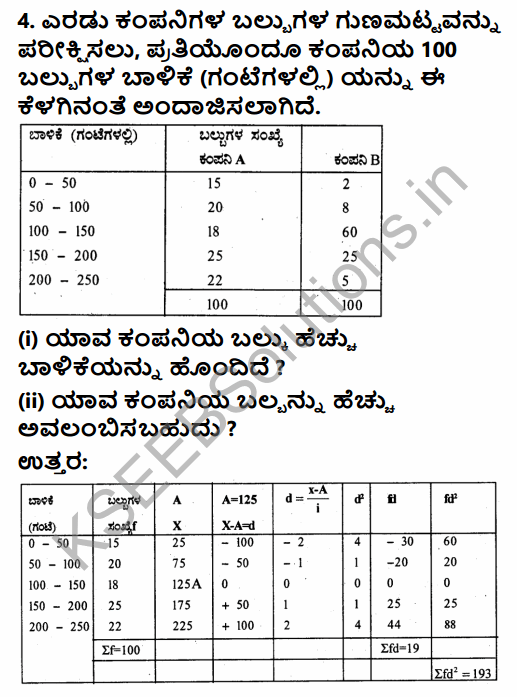 1st PUC Economics Question Bank Chapter 6 Measures of Dispersion in Kannada 48