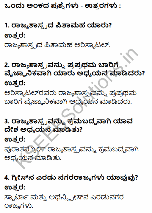 1st PUC Political Science Question Bank Chapter 1 Political Science as a Discipline in Kannada 1