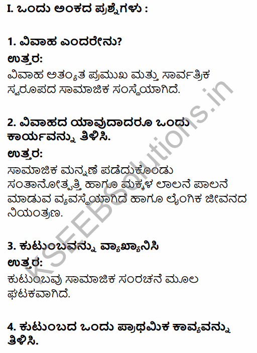 1st PUC Sociology Question Bank Chapter 5 Social Institutions in Kannada 1