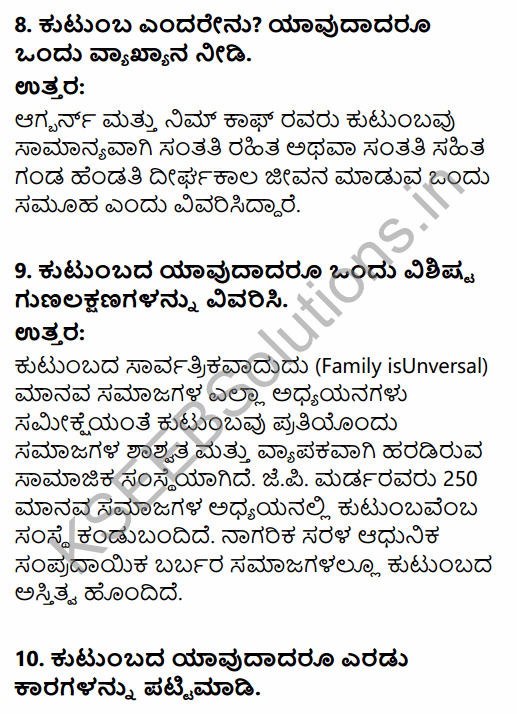 1st PUC Sociology Question Bank Chapter 5 Social Institutions in Kannada 12