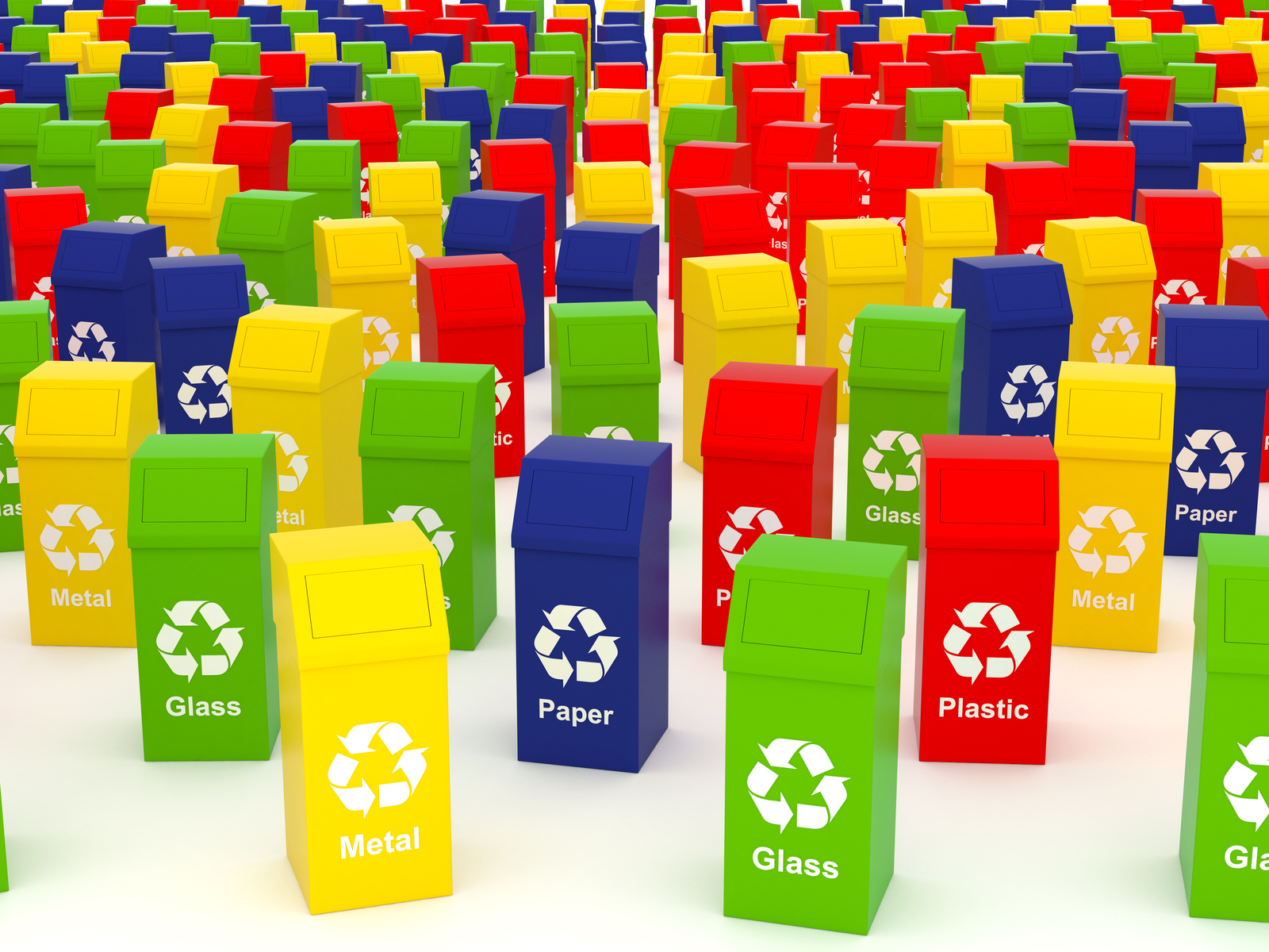 hight resolution of the many colours of waste and recycling