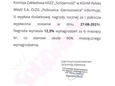 KGHM: dodatkowa nagroda roczna za I półrocze 2021 r.